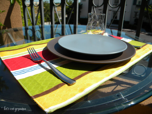 Patio placemats made from the remnants of fabric used to re-cover patio chairs