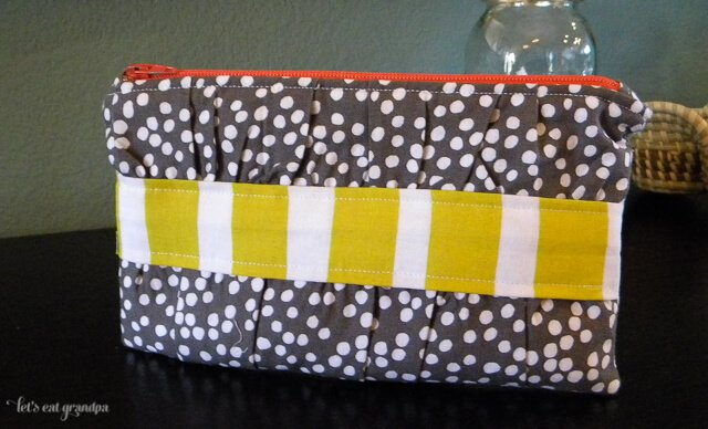 Bella Gathered Clutch with Lotta Jansdotter fabric