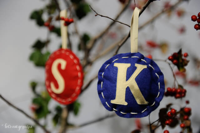 Monogrammed ornaments, made with a tutorial by Dana Made It