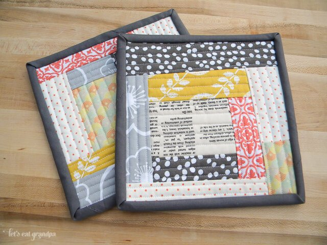 Quilt-As-You-Go potholders and Turkey Orzo Soup recipe!