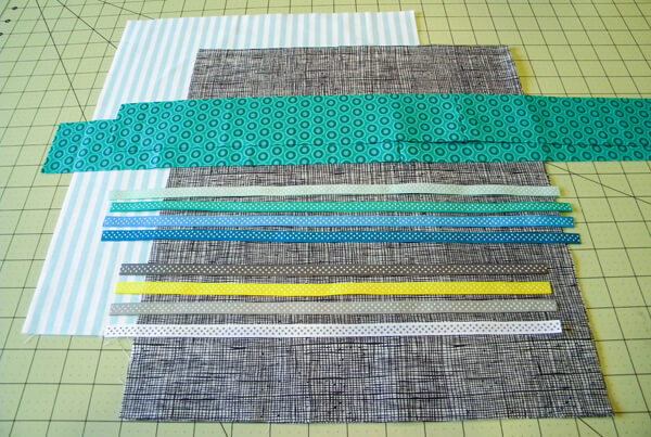 Ribbon Tote pieces laid out on cutting mat