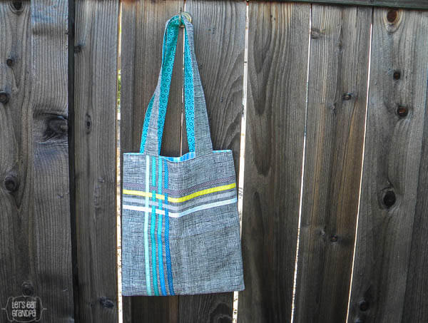 finished woven Ribbon Tote