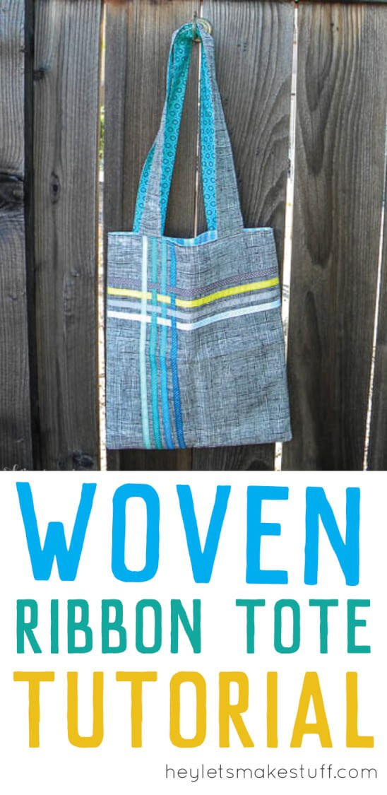 Sew this simple tote bag with woven ribbon accents. A great stashbuster project, perfect for beginners.