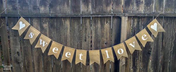 Sweet Love Burlap Banner Let's Eat Grandpa