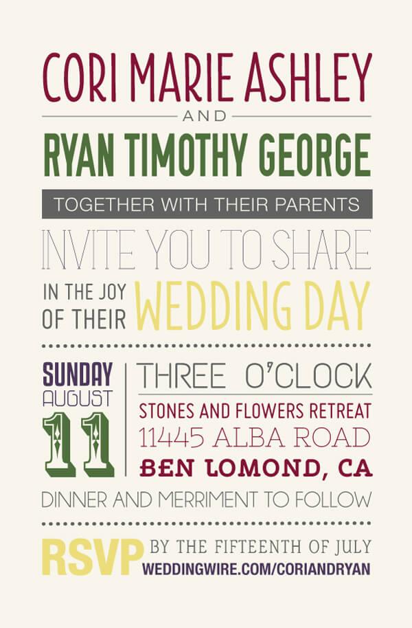 Typography Invitation Let's Eat Grandpa