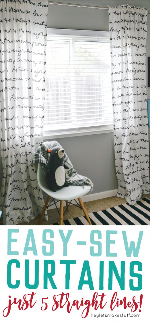 finished easy sew curtains in children's room pin image