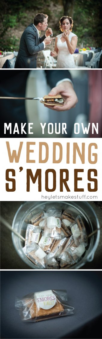 Bride and groom enjoying wedding smores with Make your own wedding smores text overlay