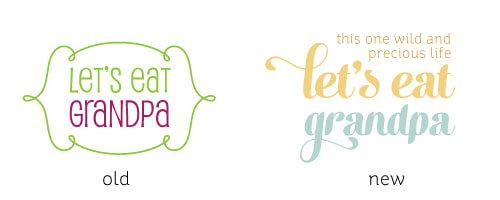 Old vs new logo Let's Eat Grandpa