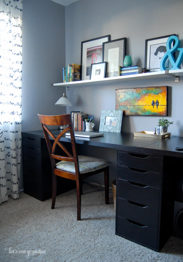 Beautiful Real-Life Renovation Home Office Makeover by Let's Eat Grandpa