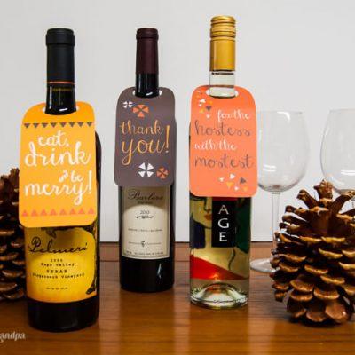 Free Printable: Thanksgiving and Christmas Wine Tags!