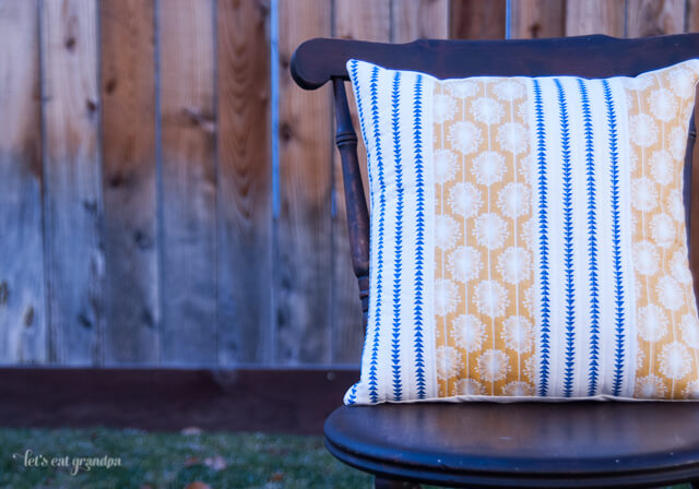 Modern Yellow and Blue Pillow by Let's Eat Grandpa