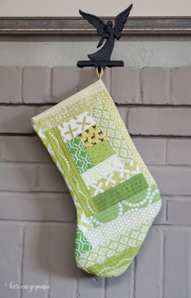 Green Quilted Christmas Stocking by Let's Eat Grandpa