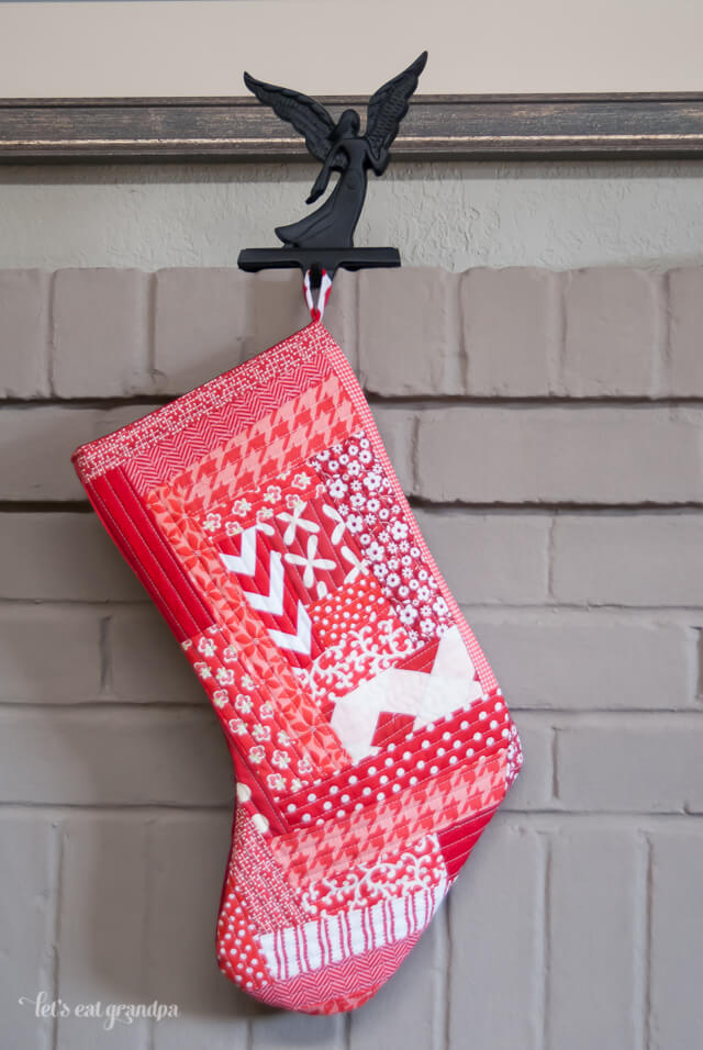Red Quilted Christmas Stocking by Let's Eat Grandpa