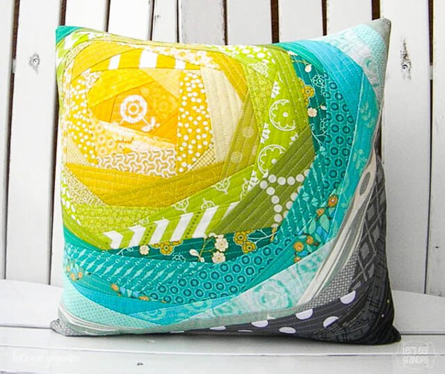 finished pillow with the Quilt As You Go (QAYG) technique