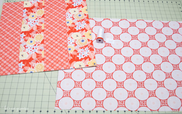 pieces of fabric on cutting mat