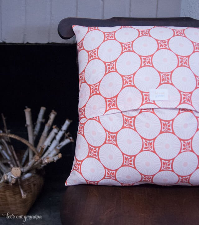 finished orange Pillow with Envelope Enclosure