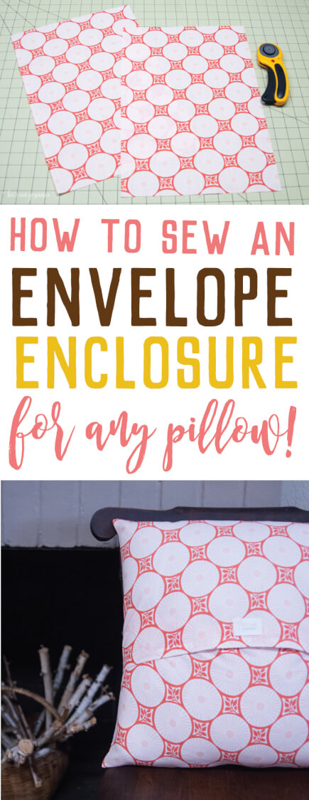 Pillow envelope enclosure tutorial pin image