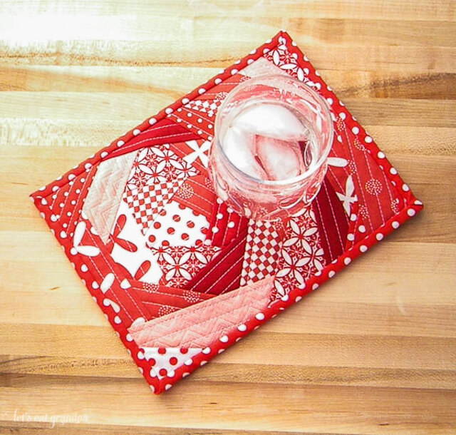 Red mug rug by Let's Eat Grandpa