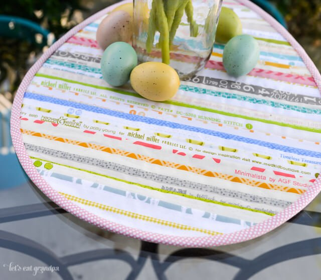front view of Easter Selvage Table Topper