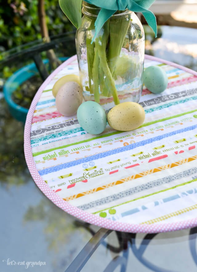 side angle of Easter Selvage Table Topper