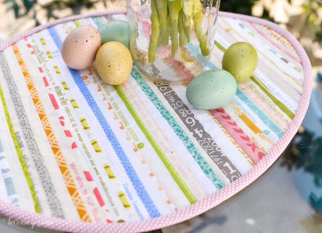 side view of Easter Selvage Table Topper