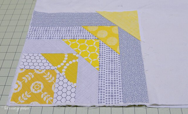 close up of in progress North West Quilt-As-You-Go Panel