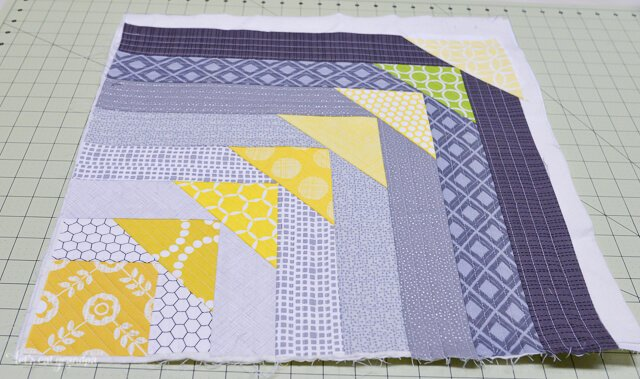 close up of in progress North West Quilt-As-You-Go Panel on cutting mat