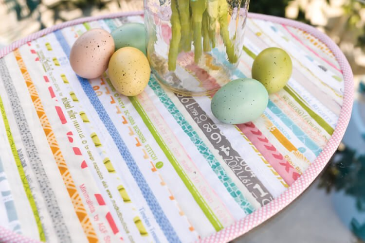 sewn Easter table topper in the shape of an Easter egg