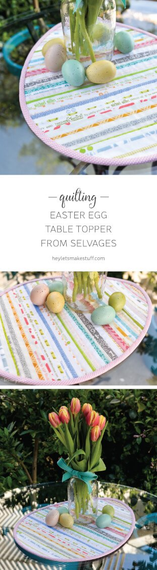 Use up those selvages to create quilt super cute Easter table topper!