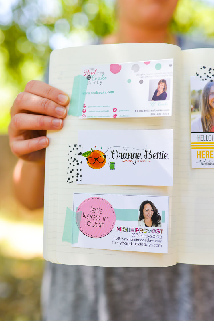 Create a smashbook to hold your notes, business cards, and other stuff you get at conferences!