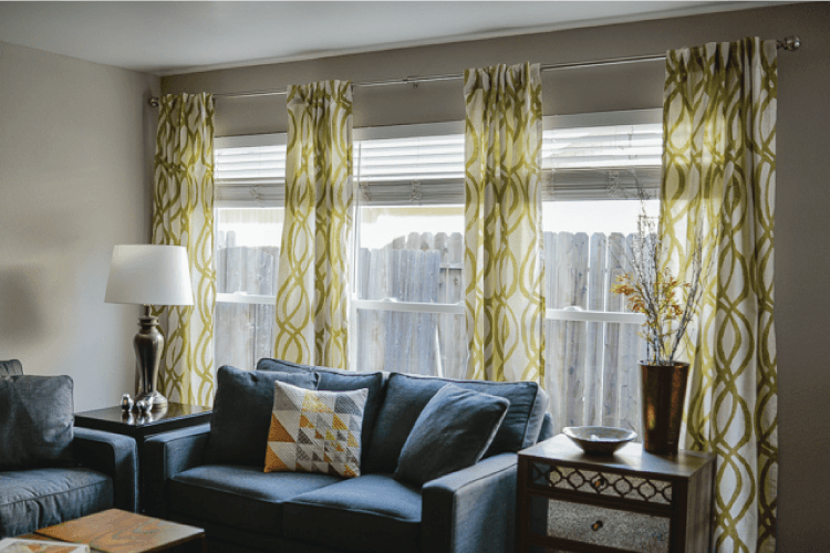 How to hang curtains a quick tutorial hey let 39 s make for Wall to wall curtain