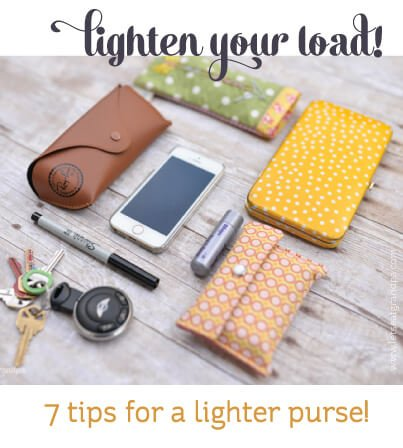 Are you carrying around too much? Here are seven great tips to lighten the load in your purse!