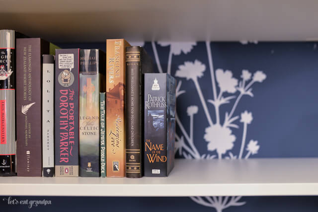 finished bookshelf and books with floral decal