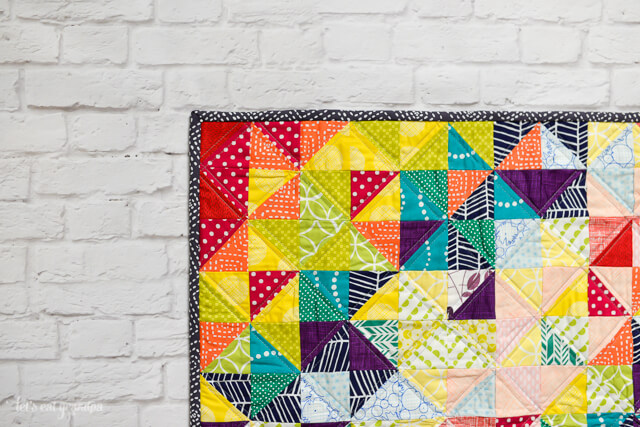 Schnitzel and Boo Mini Quilt Swap Rainbow Explosion Quilt by Let's Eat Grandpa