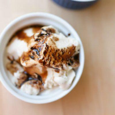 Sweet Balsamic Reduction with Vanilla Ice Cream