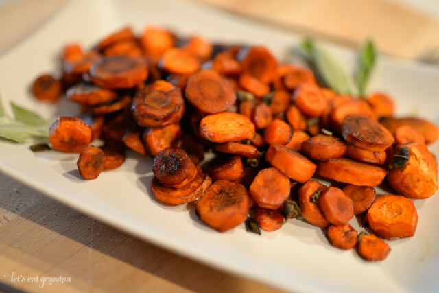 Roasted Carrots with Balsamic Reduction and Sage