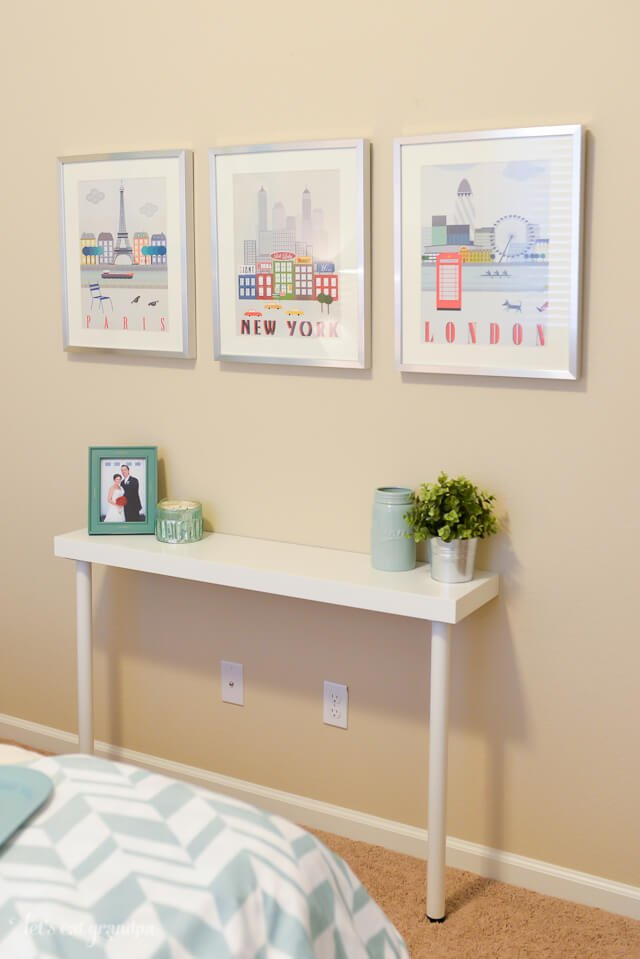IKEA narrow table hack with wall art above