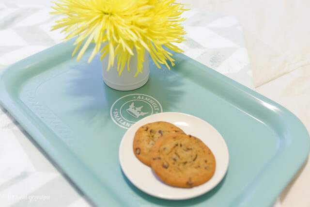 tray on bed of cookies and flowers