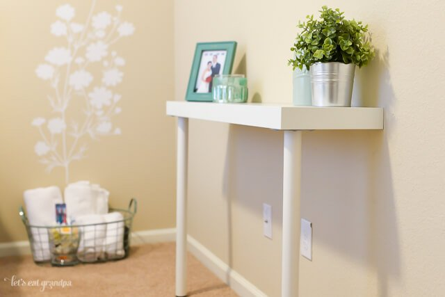 DIY IKEA hack console table in guest bedroom