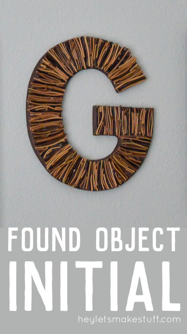 finished G initial with sticks glued pin image