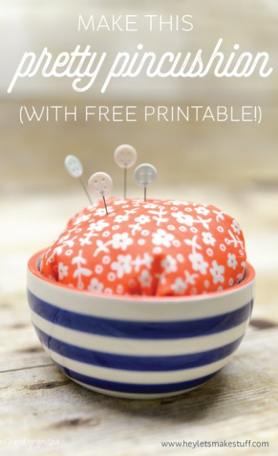Perfect handmade gifts for friends for under $5: Pretty Pincushion + Printable