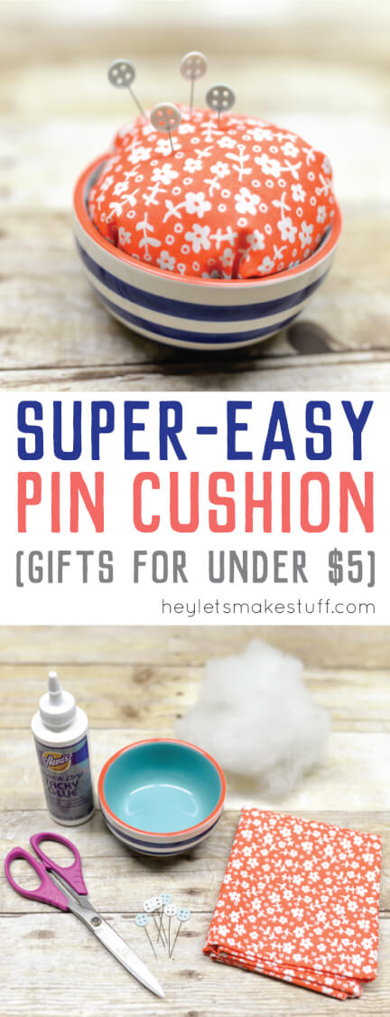 Looking for gifts under $5? You can make this DIY pin cushion for your favorite seamstress or quilter. Handmade gifts are always appreciated!