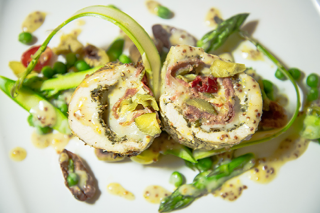 Chicken Roulade Provencale with Whole-Grain Mustard Bernaise