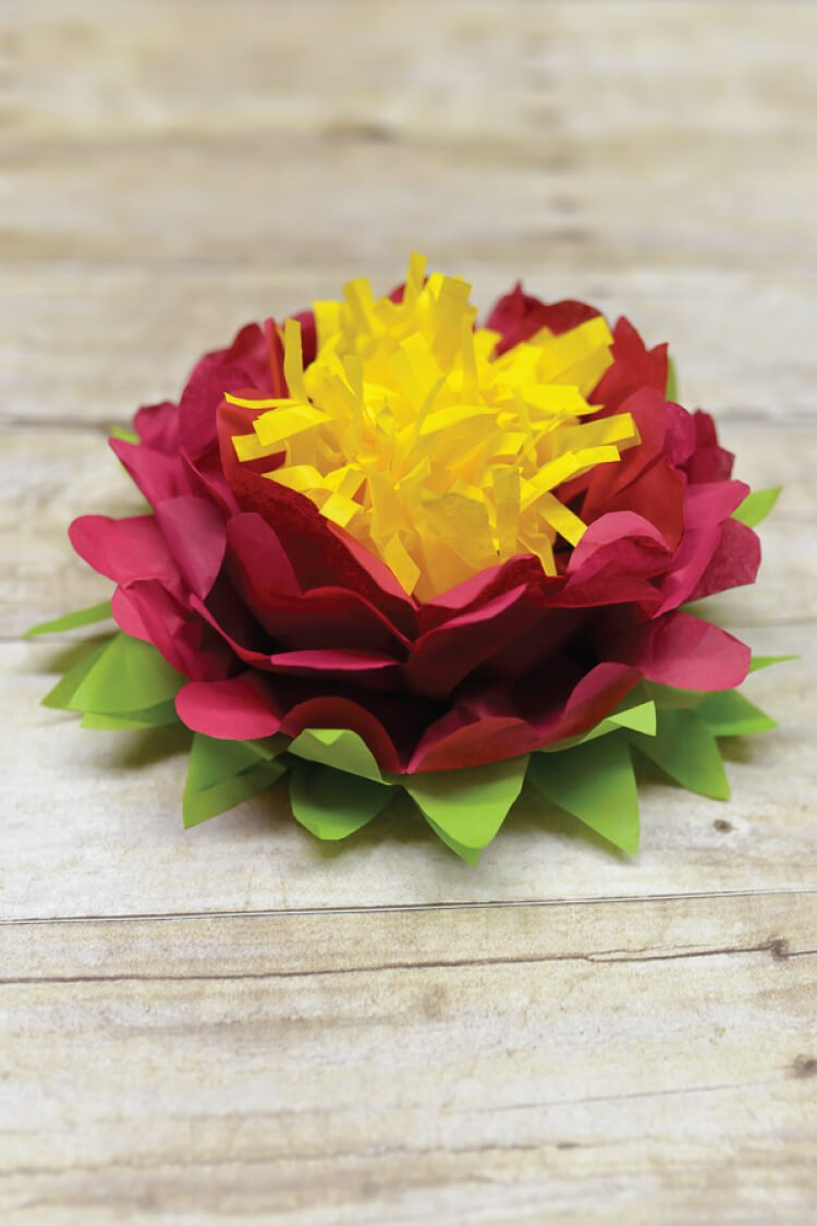 How to make tissue paper flowers four ways hey lets make stuff tri color tissue paper flowers are easy to make perfect simple decorations for weddings mightylinksfo Images