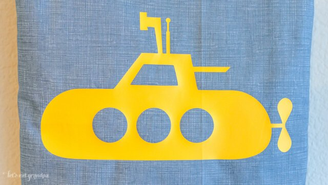 Yellow Submarine Tote Bag, cut using a Cricut Explore! #DesignSpaceStar #CricutExplore