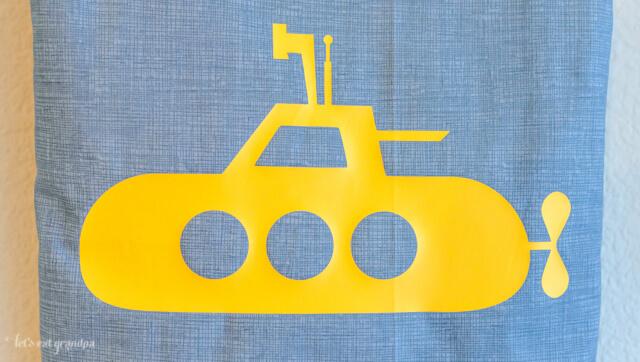 Yellow Submarine Tote Bag, cut using a Cricut Explore! #DesignSpaceStar #CricutExplore