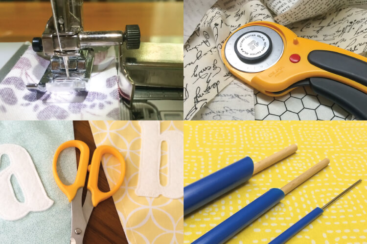 favorite sewing tools: Quick turn, rotary cutter, best press, mini scissors, and magnetic seam guide