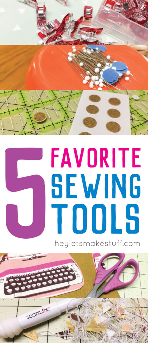 5 favorite sewing tools pin image - favorite sewing tools: wonder clips, fabric grips, serrated scissors, seam fix, and magnetic pin cushion