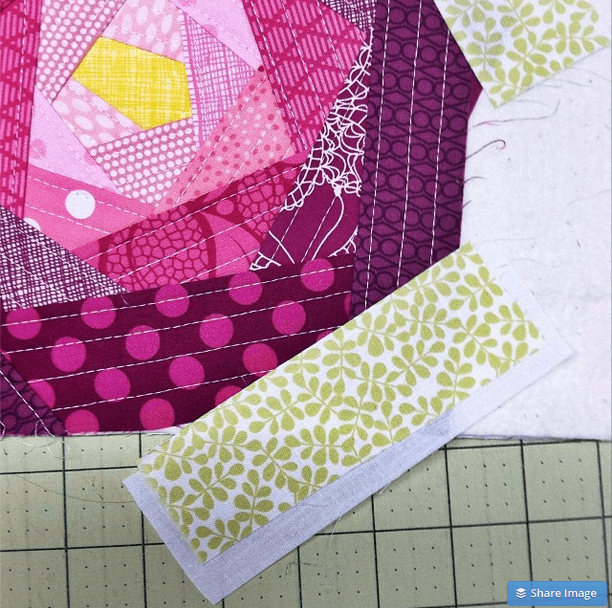 work in progress quilted block with the Quilt As You Go (QAYG) technique