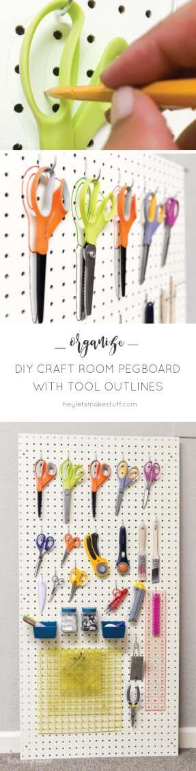 Clear off your desk and organize your sewing and crafting tools with this DIY peg board.